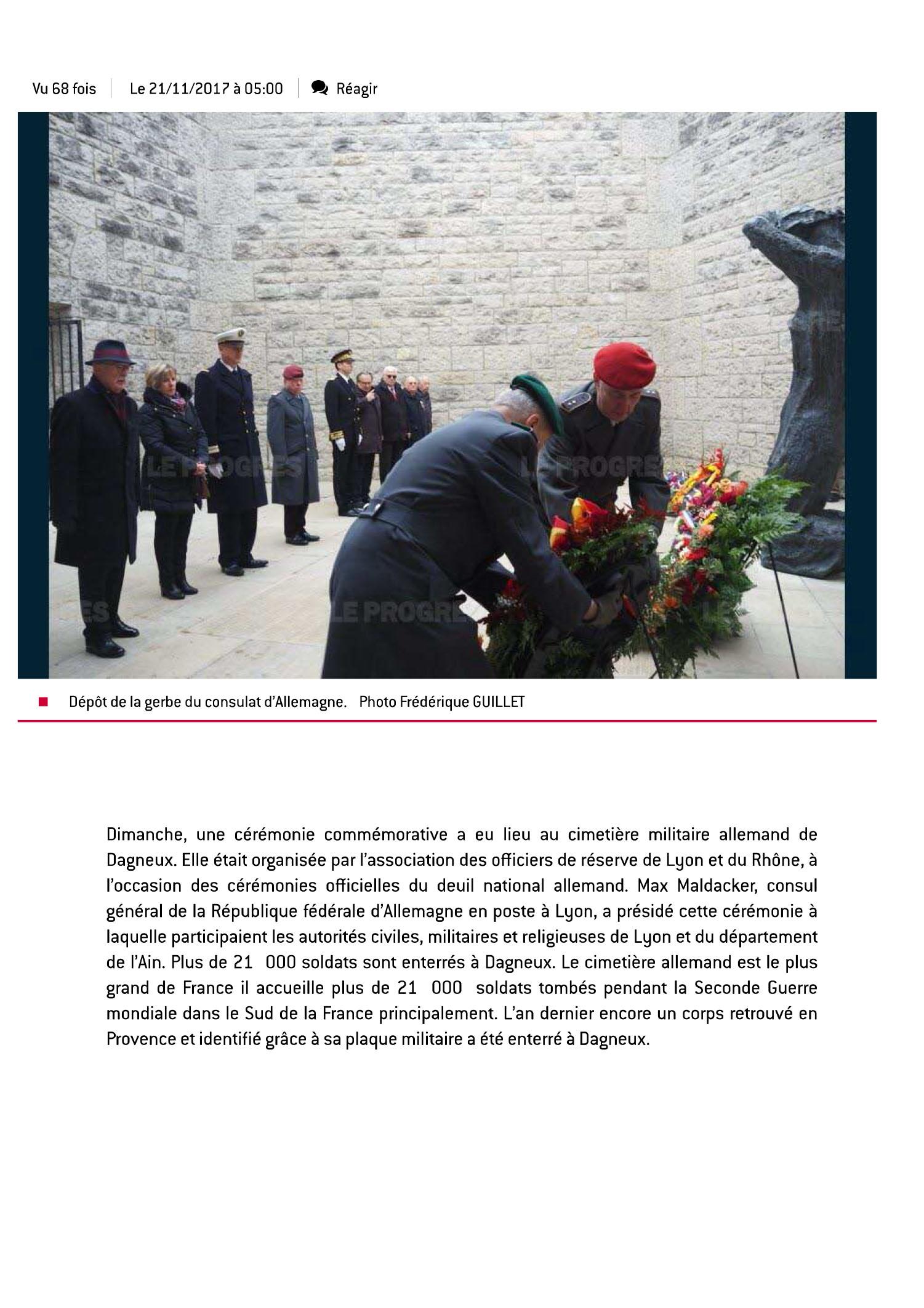 Dagneux | Une cérémonie du souvenir pourles 21000 soldats